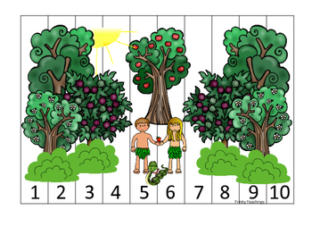 Adam and Eve 1-10 Sequence Puzzle printable game. Preschoo