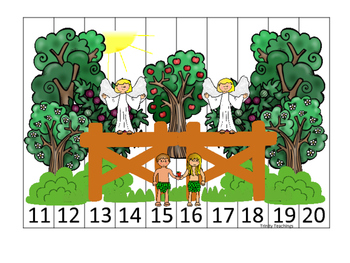 Adam and Eve 11-20 Sequence Puzzle printable game. Preschool Bible Study Curricu
