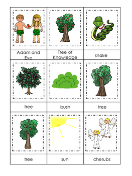 Adam and Eve 3 Part Matching Printable Game. Preschool Bible History Curriculum