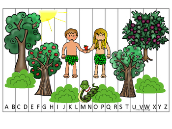 Adam and Eve A-Z Sequence Puzzle. Preschool Bible History Curriculum
