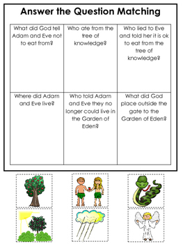 Adam and Eve Answer the Question printable game. Preschool