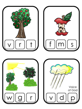 Adam and Eve Beginning Sounds Clip It printable game. Preschool Bible Curriculum