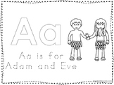 Adam and Eve Color and Trace Worksheet. Preschool-Kindergarten Bible Study.