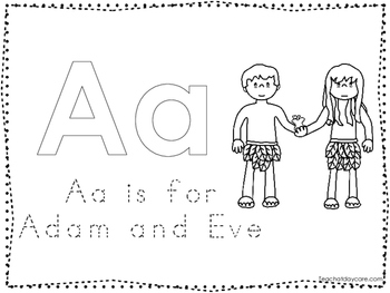 Adam and Eve Color and Trace Worksheet. Preschool-Kinderga