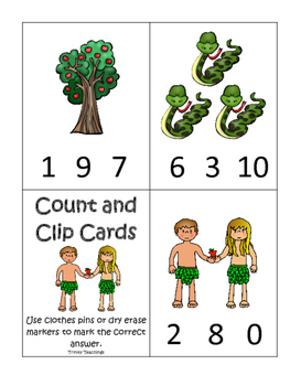 Adam and Eve Count and Clip printable game. Preschool Bible Curriculum