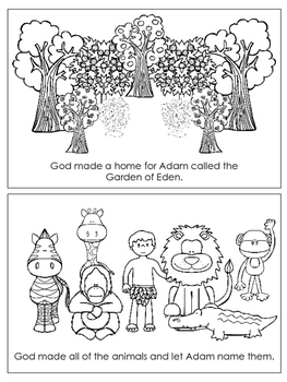 Adam and Eve Emergent Reader printable worksheets. Preschool Bible Curriculum