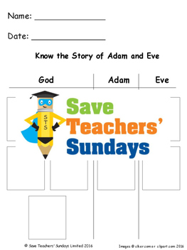 Adam and Eve Lesson Plan and Worksheets / Activity