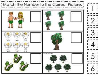 Adam and Eve Match the Number printable game. Preschool Bible Study Curriculum