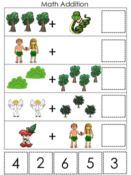Adam and Eve Math Addition printable game. Preschool Math Bible Study Curriculum