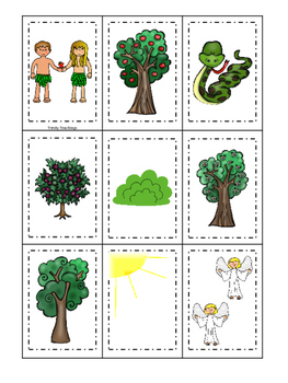 Adam and Eve Memory printable game. Preschool Math Bible Study Curriculum