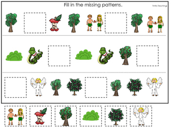 Adam and Eve Missing Pattern printable game. Preschool Bible Study Curriculum