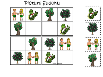 Adam and Eve Picture Sudoku printable game. Preschool Bible Study Curriculum