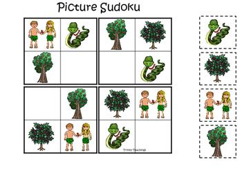 Adam and Eve Picture Sudoku printable game. Preschool Bibl
