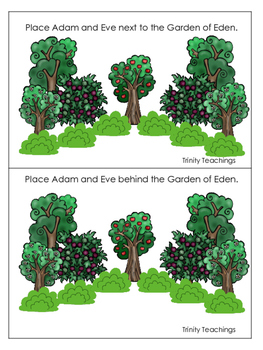 Adam and Eve Positional Cards printable game. Preschool Bible Study Curriculum