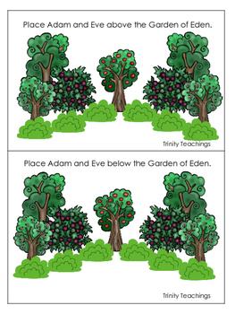 Adam and Eve Positional Cards printable game. Preschool Bi