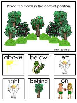 Adam and Eve Positional Game printable game. Preschool Bible Study Curriculum
