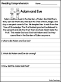 Adam and Eve Reading Comprehension Worksheet. Bible Study Curriculum.
