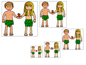 Adam and Eve Size Sequence printable game. Preschool Bible Study Curriculum