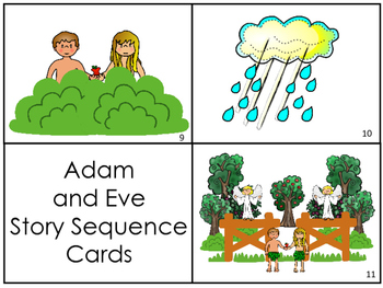 Adam and Eve Story Sequnce Cards. Preschool Bible Literacy Curriculum.