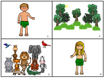 Adam and Eve Story Sequnce Cards. Preschool Bible Literacy
