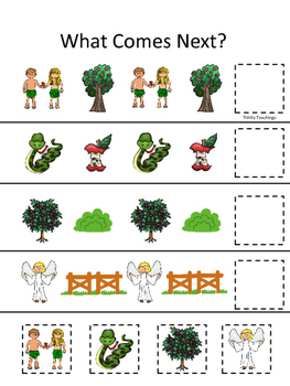 Adam and Eve What Comes Next printable game. Preschool Bible Study Curriculum