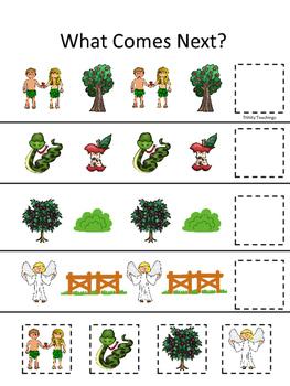 Adam and Eve What Comes Next printable game. Preschool Bib