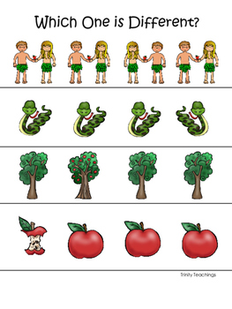 Adam and Eve Which One is Different printable game. Presch