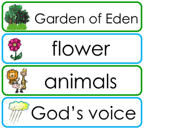 Adam and Eve Word Wall Bulletin Board Set. Preschool Bible Curriculum.