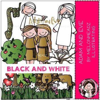 Melonheadz: Adam and Eve clip art - BLACK AND WHITE