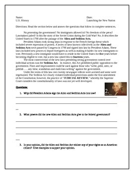 Adams: Alien and Sedition Acts.Reading and worksheet