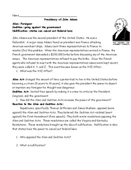 Adams Presidency Worksheet: Reading and Cartoon with Questions