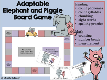 Adaptable Board Game Featuring Mo Willems' Elephant and Piggie Theme for Centers
