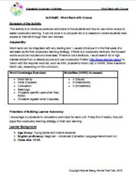 Adaptable Vocabulary Activities (2-5) - A Lab Task, 2 Games, and a Presentation