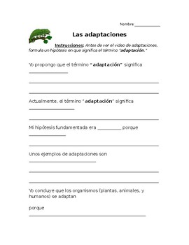 Adaptaciones- Adaptations worksheet in Spanish