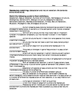 Adaptation and natural selection high ability vocabulary test with key