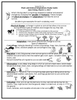 Adaptations 2.7 Study Guide