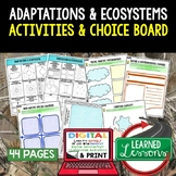 Adaptations Activities Choice Board, Digital Graphic Organizers