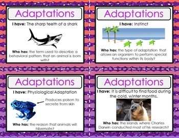 Adaptations Activity - I Have, Who Has?