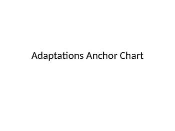 Adaptations Anchor Chart Ideas