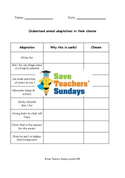 Adaptations Bundle for 1st to 3rd Grade (4 lessons)
