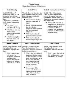 Adaptations Choice Board- Science!