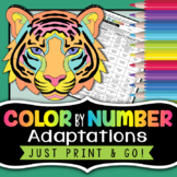 Adaptations Color by Number - Science Color by Number