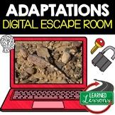 Adaptations Digital Escape Room, Adaptations Activity Pages, No Prep