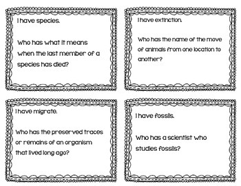 "Animal Adaptations & Plant Adaptations & Extinction ""I Have, Who Has?"" Card Game"