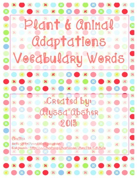 "Adaptations Freebie {Part of ""Animal Adaptations, Behaviors, & Traits"" product}"