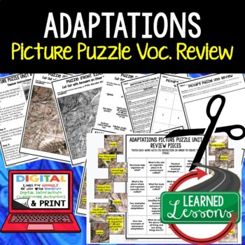 Adaptations Picture Puzzle Study Guide Test Prep