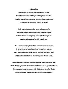 Adaptations Poem