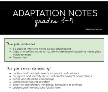 Adaptations: Structural, Behavioral, & Extinction