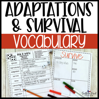 Adaptations & Survival Fun Interactive Vocabulary Dice Activity EDITABLE