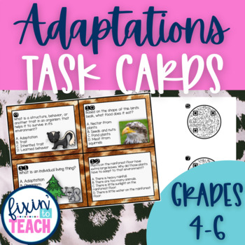 Adaptations Task Cards {QR Code Answers}